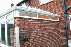 White upvc conservatory with polycarbonate roof