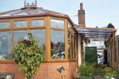 Oak effect windows and carport