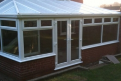 Large white upvc conservatory