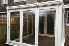White upvc french windows