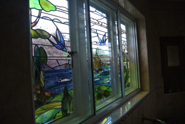 stained glass window with secondary double glazing