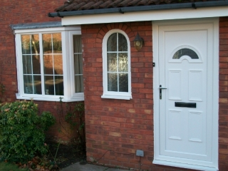 White upvc front door and windows