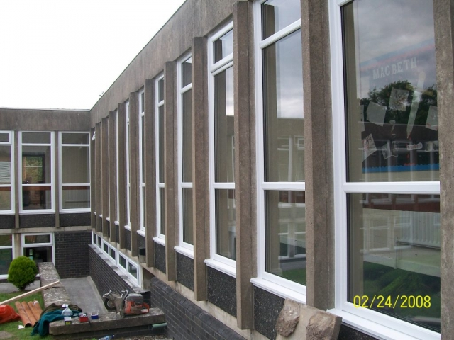 new upvc windows fitted in a school