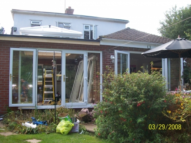Large french doors being fitted to an extension
