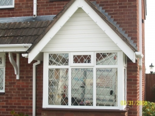 leaded upvc double glazed bay window