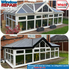 A conservatory tiled roof and a polycarbonate roof