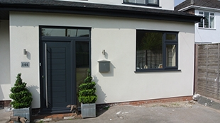 contemporary upvc windows and doors with matching grey upvc guttering