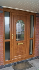 light oak front door with side panels