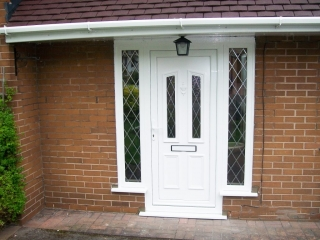 upvc door and white upvc guttering