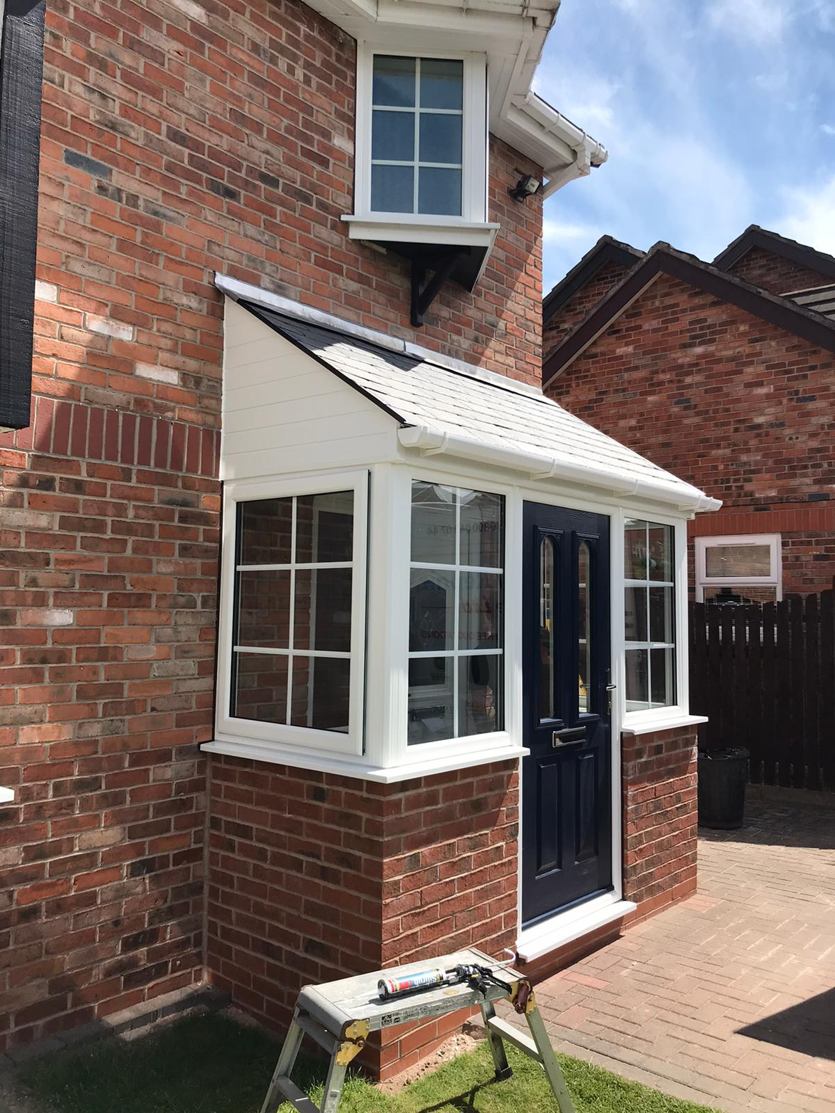 brick built porch with lightweight tiled roof